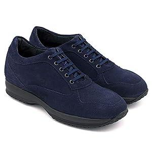 Zapatos de Hombre con Alzas Que Aumentan Altura hasta 6 cm. Fabricados en Piel. Modelo Matera (43, Azul Marino)