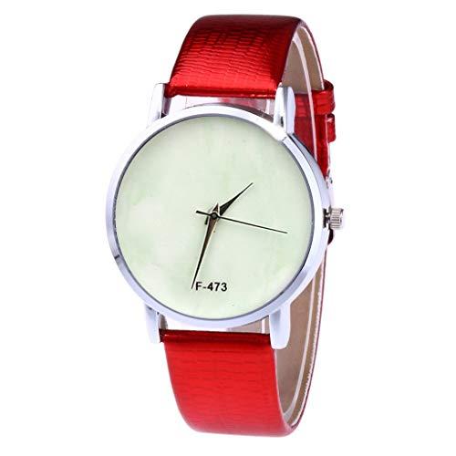 LABIUO Uhren für Frauen, Mode Einfache Legierung Analog Quarzuhr Casual Glas Zifferblatt Fenster Armbanduhr mit PU Leder(rot,Einheitsgröße)