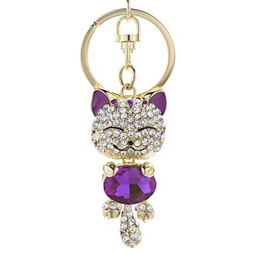 BYBDYSK sleutelhanger schattige kat kristal strass sleutelhangers sleutelhangers ringen houder portemonnee tas voor auto mooie sleutelhangers paars