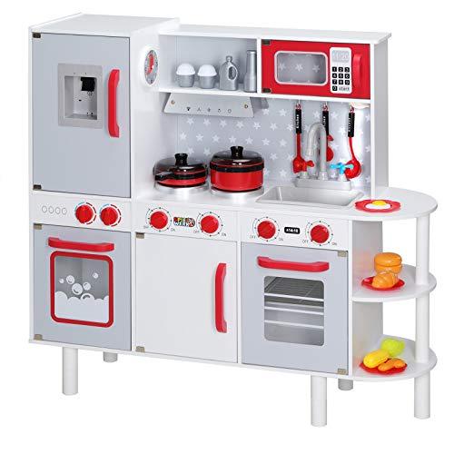 Spielwerk Cocinita Junior Chef Cocina de Madera Juguete para niños 38 Accesorios Altura Ajustable 91x33x86/92cm con Reloj