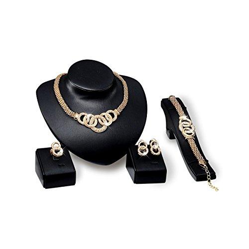 PIXNOR De Novia Collar Pendientes Pulsera Anillo Joyería Oro Enchapado Conjunto Para Boda