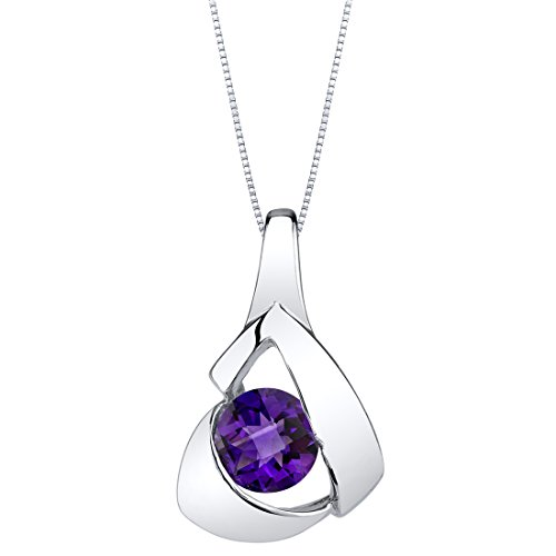 Peora Amethyst Pendant Necklace in Sterling Silver, Chiseled Solitaire Design, Round Shape, 6mm, 0.75 Carat with 18 inch Chain