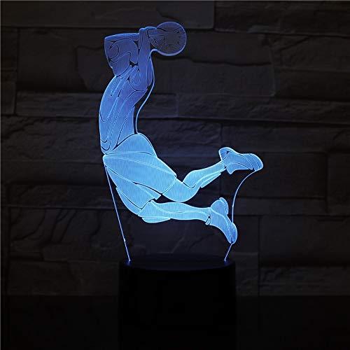 Only 1 Piece Creative 3D LED Visual Basketball Slum Dunk Led Night Light 7 Color Home Table Party Bar Decor Lamp Boys Man Kids Favor Gift