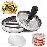 Burger Press e 100 carta oleata antiaderente per carne Patty Hamburger Maker per preparare hamburger tascabili ripieni da un quarto di libbra o grandi 1/3 di libbra, alluminio per barbecue
