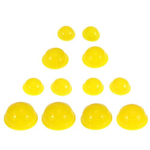 HEALIFTY Set de ahuecamiento de silicona Masaje al vacío chino herramientas de masaje corporal Terapia Facial Cupping Cups 12pcs (amarillo)