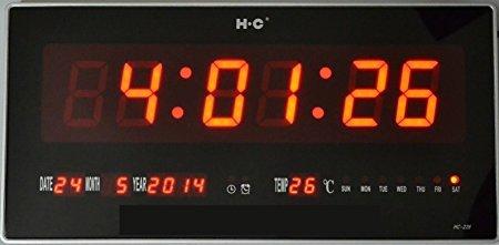 Ideal CUCUBA Orologio Digitale A LED con DATARIO Temperatura da Parete per Bar CHIOSCO GELATERIE: Misure 17 x 22 x 3 CM. Giorno, Data, Mese in Italiano!