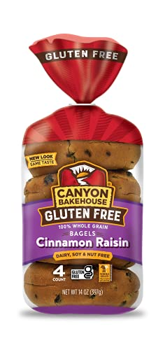 Canyon Bakehouse Gluten Free Bagels, Cinnamon Raisin Bagels, 14 Ounce (Case of 6)