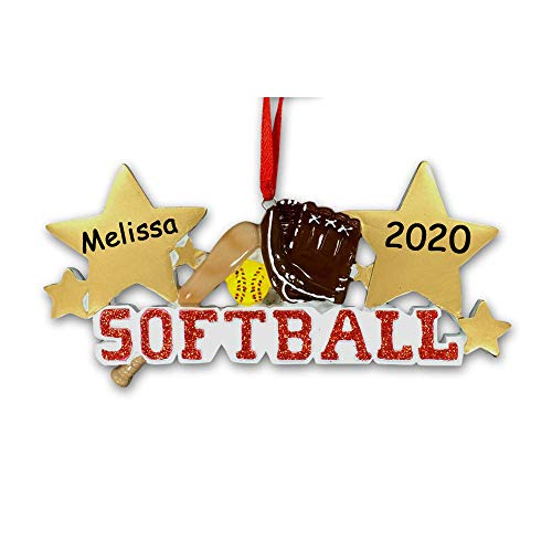 Personalized Softball Christmas Ornament - Slow Pitch or Fast Pitch Softball Player Sports Ball and Glove with Bat and Gold Stars Hanging Christmas Tree Decoration - Custom Name and Date