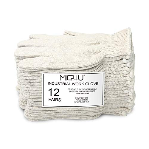MIG4U Cotton Gloves Liners String Knit Safety Protection Work Gloves Lightweight,12pairs,Natural white,Size L