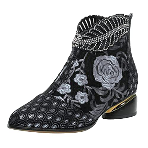 Women Shoes Ladies Short Boots Floral Embroidered Pointed Toe Zipper Cowboy Boots Classic Cowboy Boots Business Office Work Party Dress Shoes (Black, 4.5)