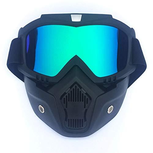 Leoie Ganzgesichtsmaske für Damen und Herren, Retro-Stil, für Radfahren, Schnee, Sport, Skifahren Vertical Black Frame + Colorful Lens