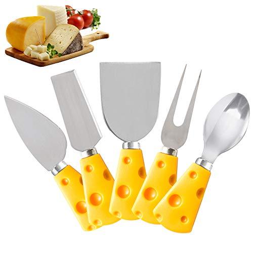 EQLEF Queso Cuchillos, Cortador de cortadora de Queso Acero Inoxidable Diseño Lindo de Dibujos Animados Tenedor Cuchara Cuchillo Juego de 5