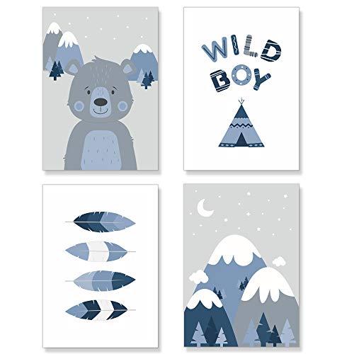 PREMYO Bilder Kinderzimmer Deko Jungen - Tipi Zelt Poster Set Babyzimmer - Wandbilder Schlafzimmer Bär Wildnis Blau A4