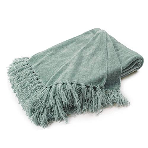 Chenille Knit Throw Blanket with Tassels 152x203cm Soft Cozy Sofa Couch Chair Bed Throw Blanket (Sage)