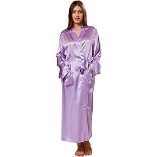ElleSilk Women's Long Silk Dressing Gown, Pure Silk Sleepwear, 22 Momme, Purple, XL