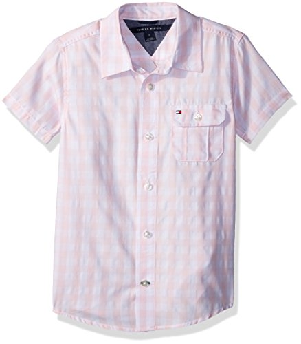 Tommy Hilfiger Boys' Little Short Sleeve Gingham Woven Shirt, Crystal Rose, 6