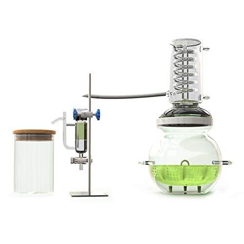 PANJAZE Distillero de vidrio, destilador de rocío puro Equipo extractor de aceite esencial de alta concentración, kit de cristalería de laboratorio de química de alcohol, destilación, aparato de desti