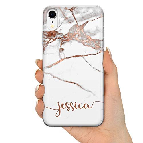 Tullun Personalisierter Individueller Name Initialen Text Roségold Marmor ET Custom Soft Gel Silikon Schutzhülle Handy Hülle für iPhone - Horizontaler Name - für iPhone X/Xs