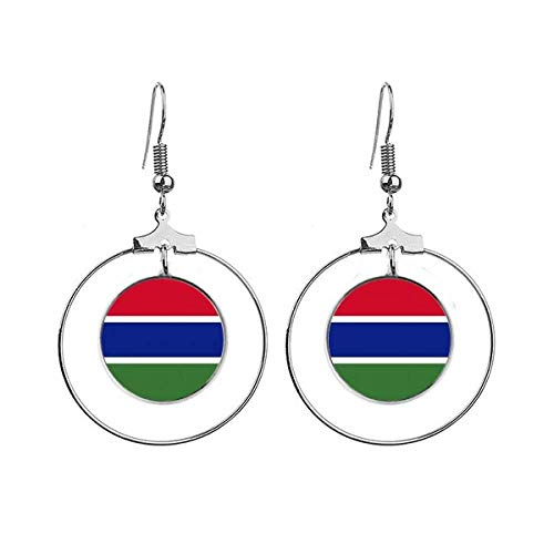 De Gambia Nationale Vlag Afrika Land Oorbellen Dangle Hoop Sieraden Drop Cirkel