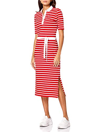 Tommy Hilfiger Stripe Regular Midi Polo Dress Vestido Informal, Rosso, S para Mujer