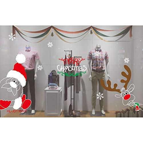 MMLFY Muursticker, vinyl, afneembare 3D-muursticker, Kerstmis, woonkamer, Kerstmis, sneeuwman, eland, muursticker, raam, decoratie voor wooncultuur