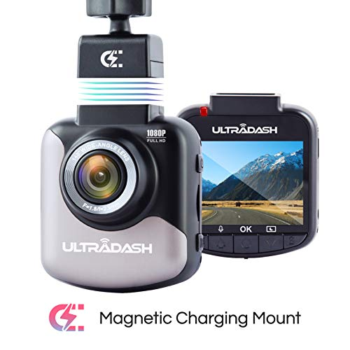 UltraDash Dash Cam, Full HD 1080P@30fps, Magnetic Charging Mount, HDR High-end Night Image Sensor, 6 Layers Glass F1.8 140 Degree Wide Angle Lens, G-Sensor, 2 Inch LCD, Super Capacitor, Loop Recording Cameras On-Dash