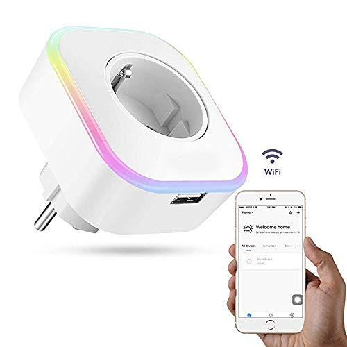 LanLan Intelligent wifi-stopcontact met afstandsbediening, spraakbediening, met schakelaar en timer, RGB LED-display, compatibel met Smart Life/Start/Amazon Alexa