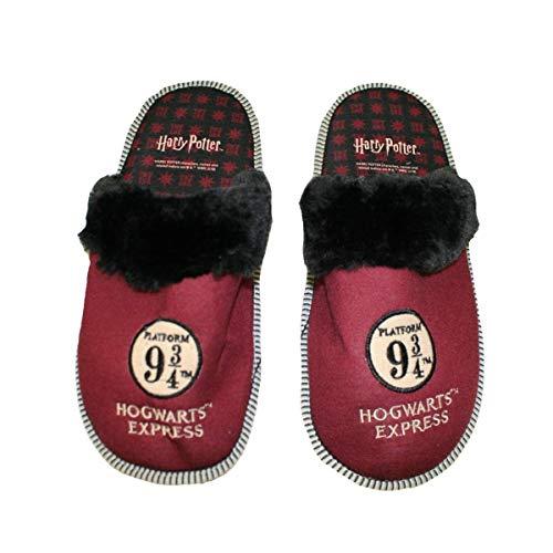 Harry Potter - Hogwarts Express 9 3/4 - Zapatillas de Estar Por Casa de Sintético Hombre, Multicolor (Rojo, negro), 42/43 EU