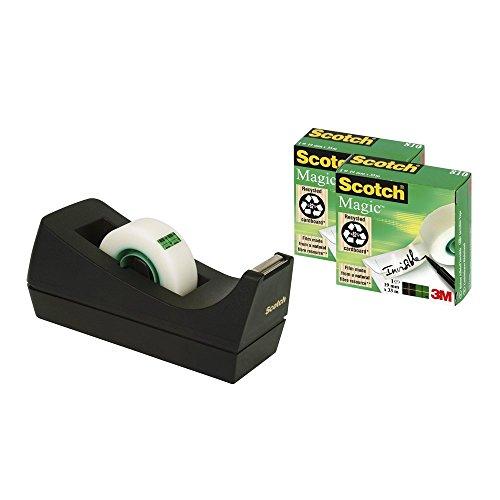 Scotch Tischabroller schwarz – Klebebandabroller inkl. 3 Rollen Scotch Magic transparentes Klebeband (19 mm x 33 m) – Funktional & benutzerfreundlich