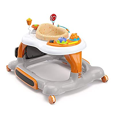 Storkcraft 3-in-1 Activity Walker and Rocker with Jumping Board and Feeding Tray, Interactive Walker with Toy Tray and Jumping Board for Toddlers and Infants- Orange