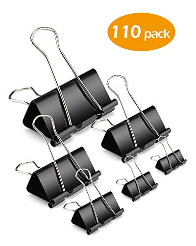 Wiltop 110 Pcs Binder Clips Metal Paper Clamps Black Set Assorted Sizes, Jumbo, Large, Medium, Small, Mini and Micro, 6 Sizes for Office, School and Home
