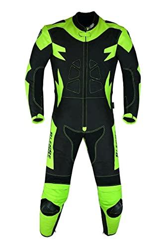 BI ESSE - Tuta Moto Pitbike Pelle e Tessuto Con Protezioni CE Gobba BIESSE Fluo Minimoto (Nero/Fluo, 3XL)