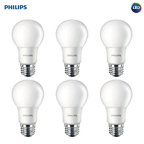 Philips Foco Led A19, no regulable, esmerilada, Equivalente a 100 vatios, Paquete de 6, Blanco Suave
