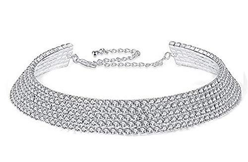 KIRALOVE Collar - Gargantilla - Mujer - rígido - Brillo - 4 Hilos - Color Plata - Idea de Regalo - Collar - Elegante - Modelo clásico - día de San valentín - Fiesta - Madre Strass