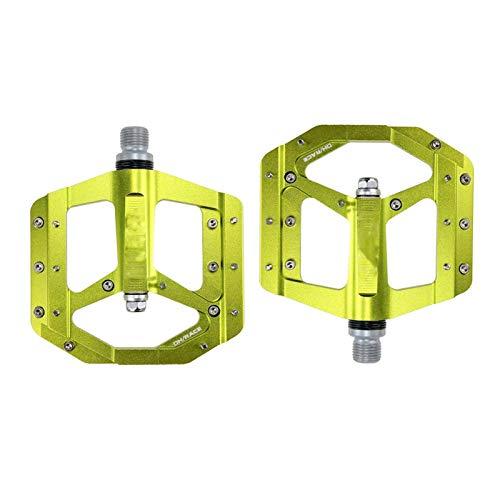 SQATDS Pedal Plano Pedal Sellado Pedales de Bicicleta CNC Cuerpo de Aluminio para MTB Road Mountain Bike 3 Piezas de Pedal de Bicicleta Pedales (Color : Verde)