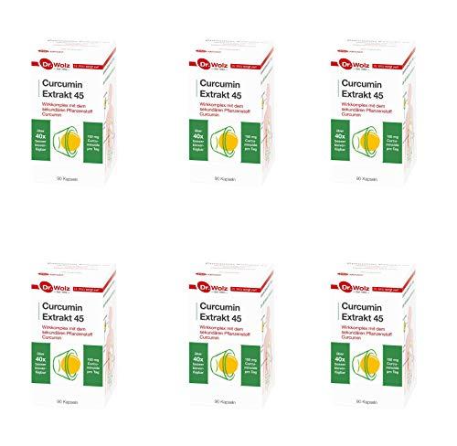 Dr. Wolz Curcumin Extrakt 45 - 6 x 90Kaps.(540Kps) + 10 Hübner Proben