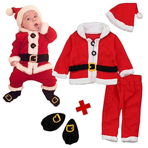 Navidad Halloween Disfraz Bebe Ropa Fossen Recién Nacido Niño Niña Santa de Navidad Tops + Pantalones + Sombrero + Calcetines 4PC/ Conjunto Otoño Invierno Ropa (0-6 Meses, 01)