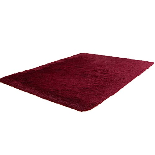 HunptaFurry - Alfombra de terciopelo grueso, suave y cómoda, antideslizante, para dormitorio, estudio, sala de estar, comedor, antideslizante, lavable a máquina, 40 x 40 pulgadas (vino)