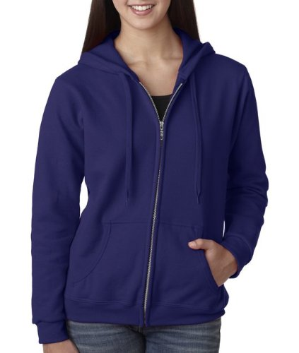 Gildan Women's Heavy Blend Full-Zip Hooded Sweatshirt, X-Large, Purple