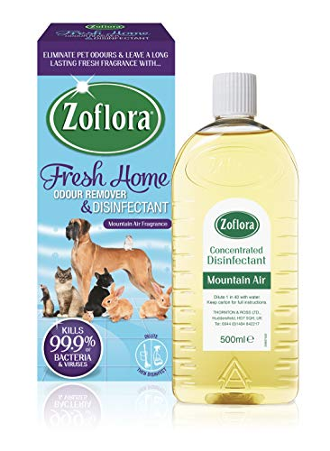Zoflora Fresh Home, Mountain Air 500ml, Concentrated Disinfectant, All Purpose Cleaner, Eliminate Pet Odours, Kills 99.9% of Bacteria and Viruses