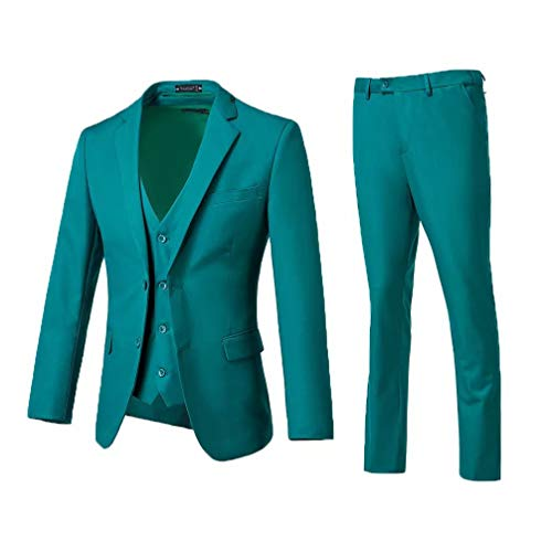 High-End Suits 3 Pieces Men Suit Set Slim Fit Groomsmen/Prom Suit for Men Two Buttons Business Casual Suit, Green, Chest48''/Waist42''
