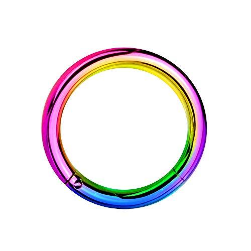 eeddoo Piercing-Ring Segment-Clicker Segment-Ring Bunt Edelstahl 1,2 mm x 12 mm
