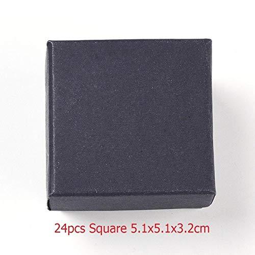 geschenkdoos LKU vierkante/rechthoekige sieraden opbergdoos oorbellen ketting armband display geschenkdoos houder inpakpapier, 24 stuks 5,1x5,1x3,2cm