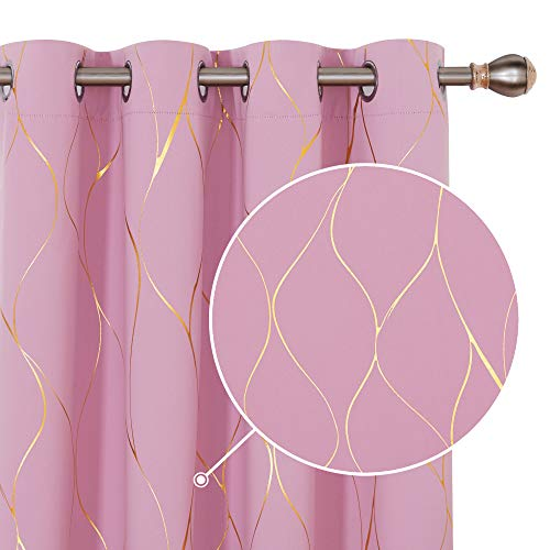 Deconovo Verdunkelungsvorhänge mit Ösen Blickdichte Gardinen Wohnzimmer 229x168 cm Rosa 2er Set