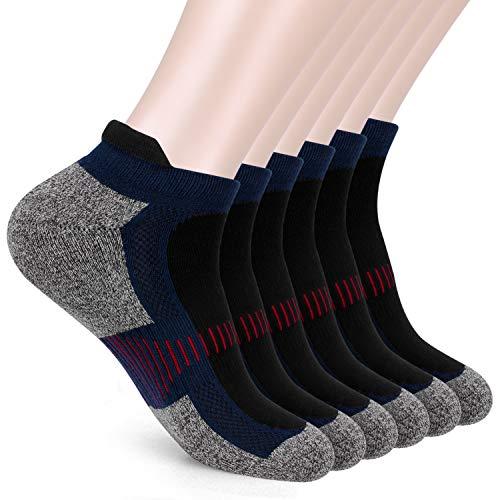 IEOKE Men's Ankle Athletic Socks, Mens Running Socks Cotton Crew Socks Nonslip Athletic Sports Socks for Outdoor Sports Hiking Trekking Walking (Navy)