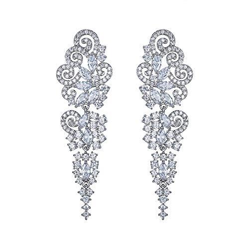 EVER FAITH Pendientes de cristal para boda, fiesta, bohemio, estilo Art Deco Cluster, candelabro, colgantes, pendientes para mujer