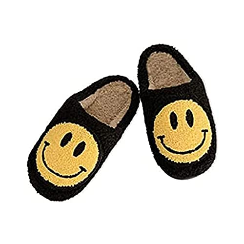TGBV Retro Smiley Face Slippers, Soft Plush Comfy Warm Slip-On Slippers, Smiley Slippers for Women Men, Cozy Cute Home Shoes, Scuff Resistant Non-Slip Memory Foam Sole (Black,EU 39-40)