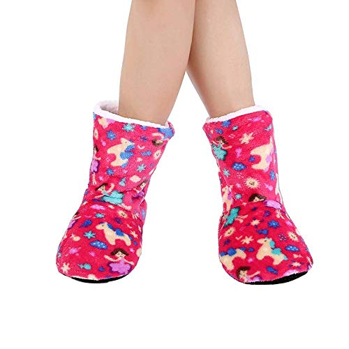 HAIBI Zapatillas Calcetines Invierno Caliente Felpa Zapatillas Dibujos Animados Zapatos Caseros Niñas Antideslizante Suave Tubo Largo Calcetines Calcetines De Navidad Regalos, Rosa,37