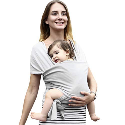 Babytragetuch Elastisch babytrage neugeborene ergonomisch babytrage hüftsitz Bio-Baumwolle 5.5 M Für Neugeborene und Babys ab Geburt bis 16 kg -Grau