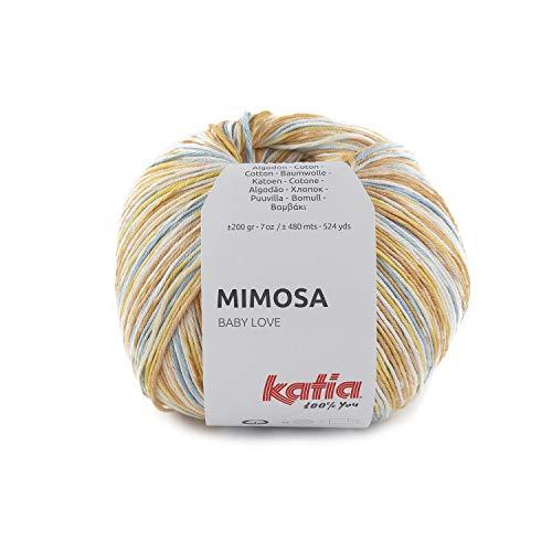 Katia Mimosa - Ovillo de lana para bebé, color 304, 200 g, hilo de algodón, lana de verano con degradado de color Jacquard para punto o ganchillo